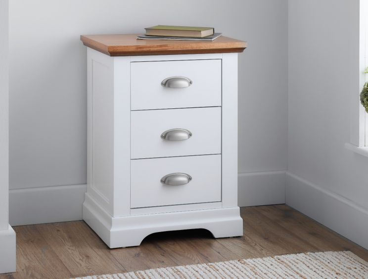 Verona 3 Drawer White Bedside