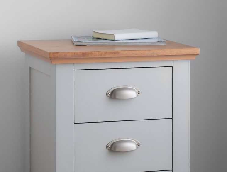 Verona 3 Drawer Grey Bedside