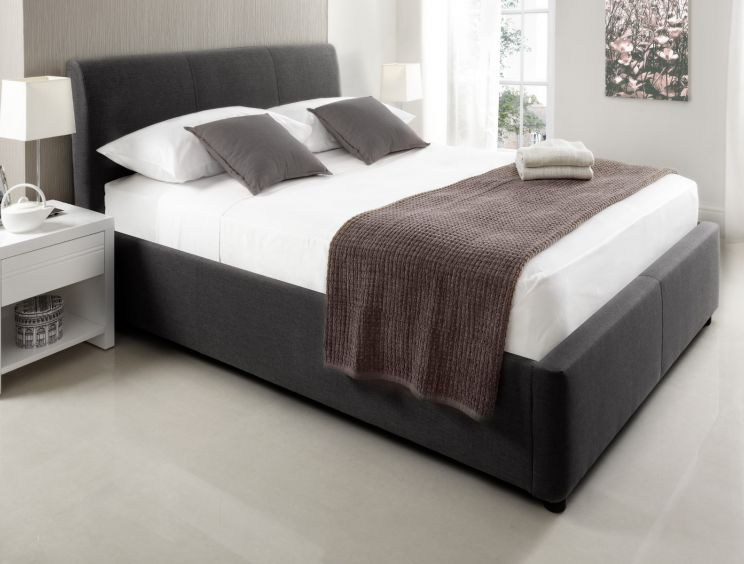 Serenity Upholstered Ottoman Storage Bed - New Grey