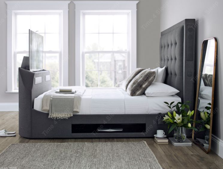 Kaydian Titan Charcoal Grey Upholstered TV and Media Bed Including Headboard Speakers & Sound Bar