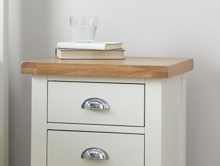 Tiverton White 3 Drw Bedside