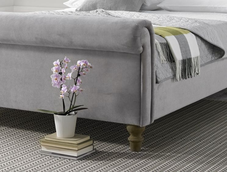 Valencia Upholstered Sleigh Bed - Steel Grey