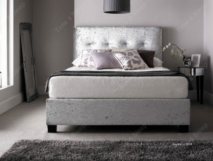 Kaydian Walkworth Ottoman Storage Bed - Silver Crush Fabric