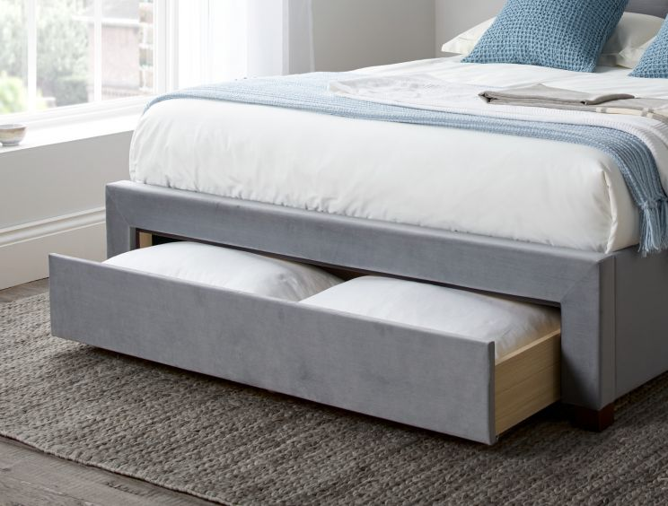 Woodbury Grey Upholstered Drawer Storage Bed Frame Only