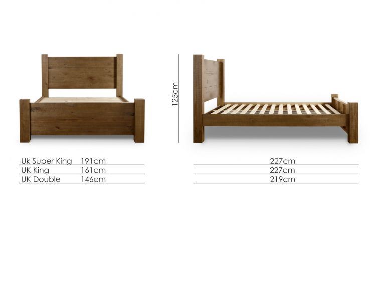 Plank Wooden Bed Frame LFE - King Size Bed Frame