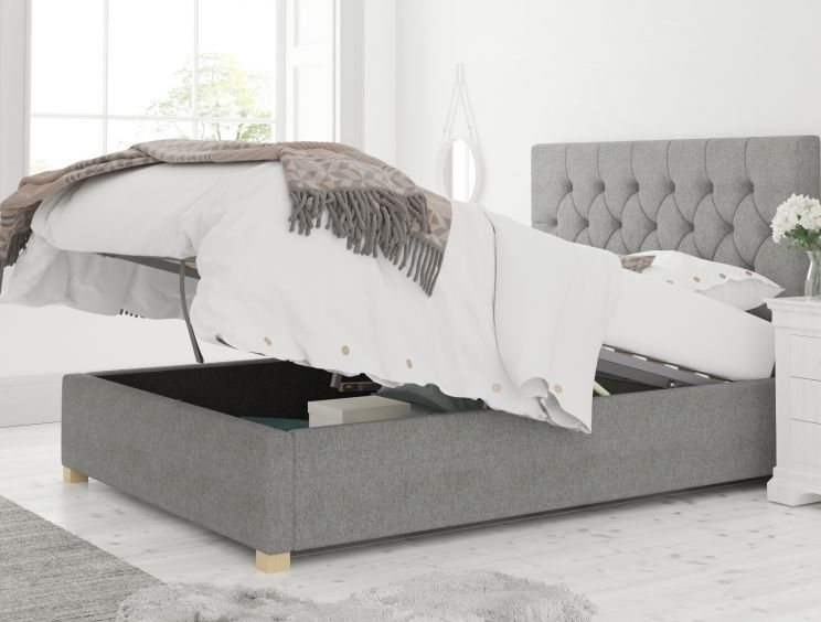York Ottoman Eire Linen Grey Bed Frame Only