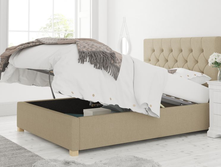 York Ottoman Eire Linen Natural Bed Frame Only