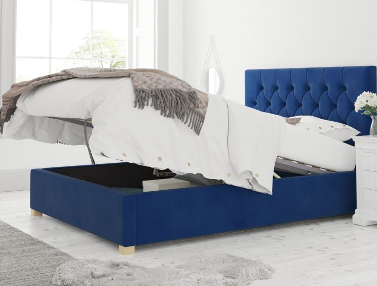 York Ottoman Plush Velvet Navy Bed Frame Only