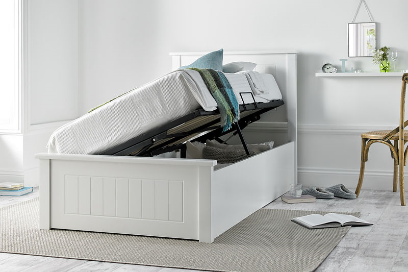 white side opening ottoman bed with covers
