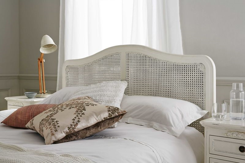 close up of the loire rattan bed in white