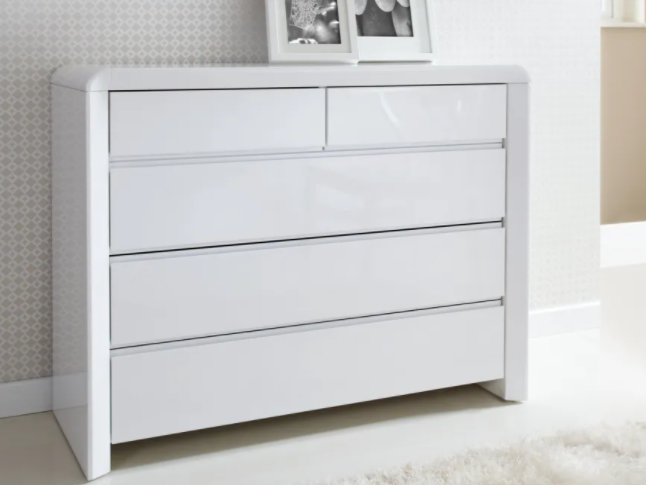 ice high gloss chest of drawers