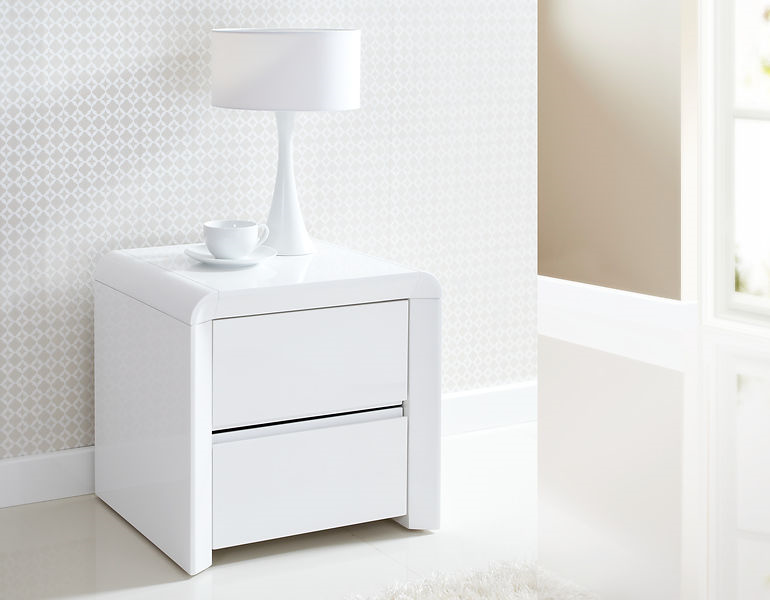 ice high gloss two drawer bedside table in white