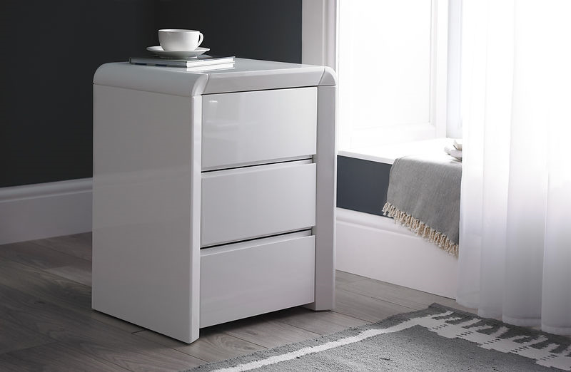 ice high gloss three drawer bedside table in white